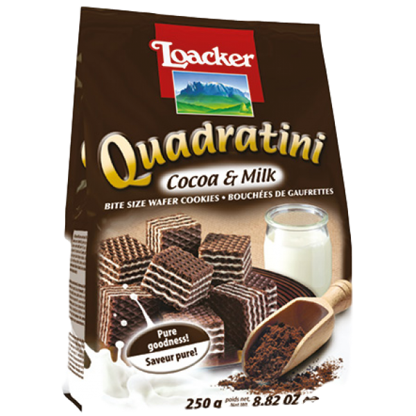 QUADRATINI COCOA and MILK BITE SIZE WAFERS