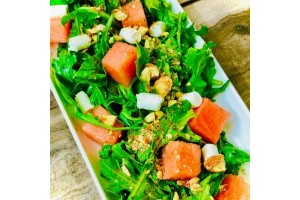 Arugula Salad with Watermelon, Goat Cheese & Almonds
