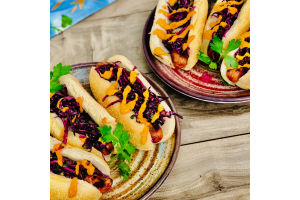 Hot Dogs with Coleslaw, Swiss & Spicy Mustard