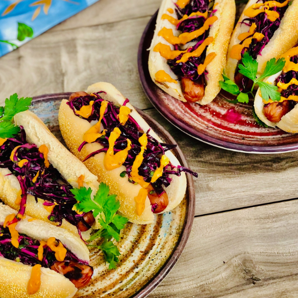 HOT DOGS with SWISS, PROVENCALE MUSTARD, CABBAGE SLAW - 6 servings