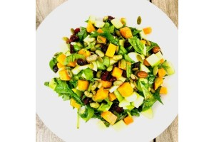 Spinach & Sweet Potato Salad with Apples & Edamame