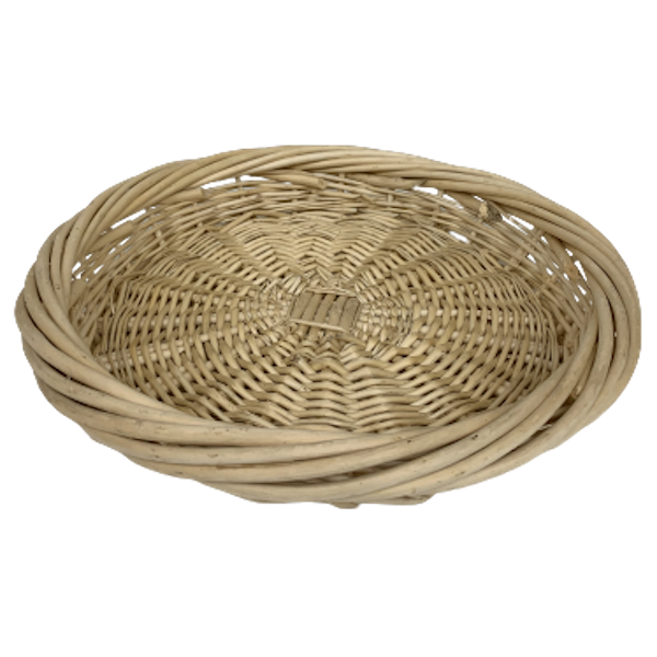 """ROUND 14"""" NATURAL  WILLOW CHIPWOOD TRAY"""