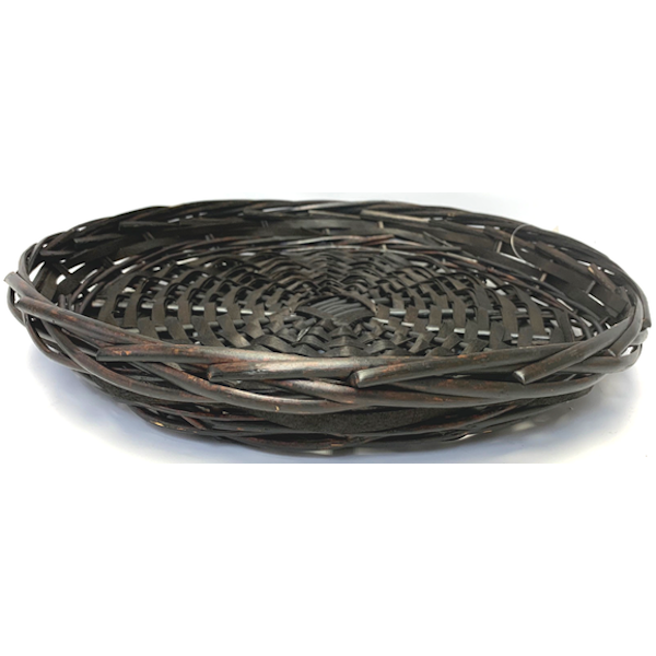 """ROUND 12"""" STAINED WILLOW CHIPWOOD TRAY"""