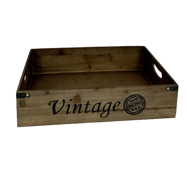 LARGE VINTAGE WOOD TRAY with HANDLES