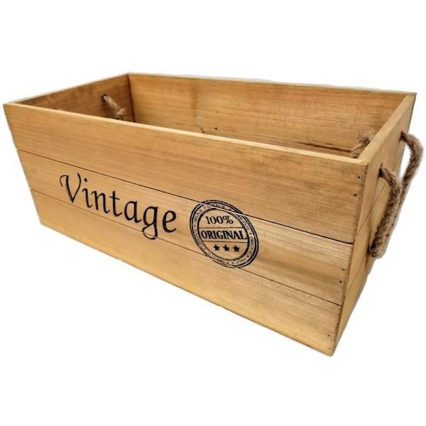 LARGE WOOD VINTAGE BOX ROPE HANDLES