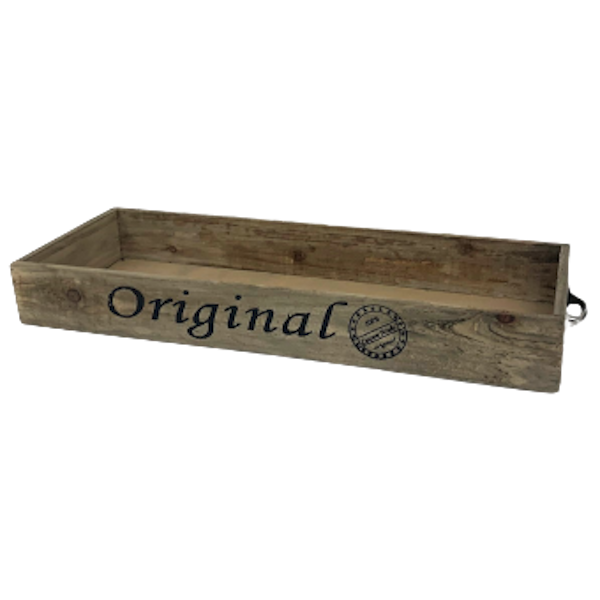 """LARGE 22.5"""" WOOD TRAY with METAL HANDLES"""