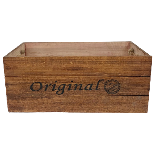 LARGE WOOD GIFT BOX with ROPE HANDLES