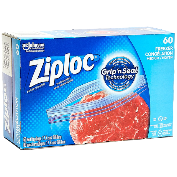 ZIPLOC 60 MEDIUM FREEZER BAGS